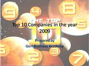Top 10 Companies in the year 2009