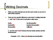 Writing Numbers with Decimals