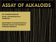 ASSAY OF ALKALOIDS