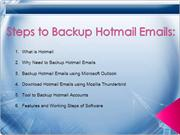 How to Backup Hotmail Email Backup to Computer