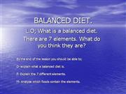BALANCED DIET intro
