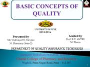 BASIC CONCEPTS OF QUALITY  by vishwajeet