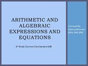 Algebraic and Arithmetic Expressions and Equations
