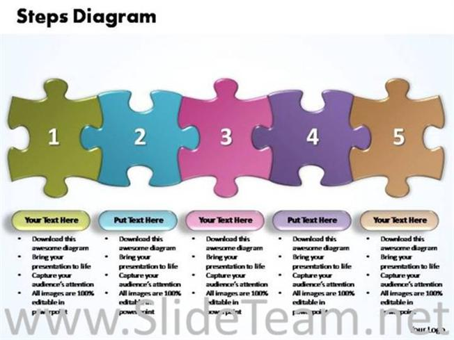 Business Five Improvement Steps Puzzle-Powerpoint Diagram