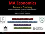 MA Economics Entrance Exams India