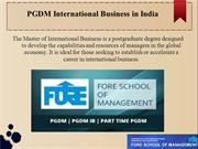 PGDM international business in India