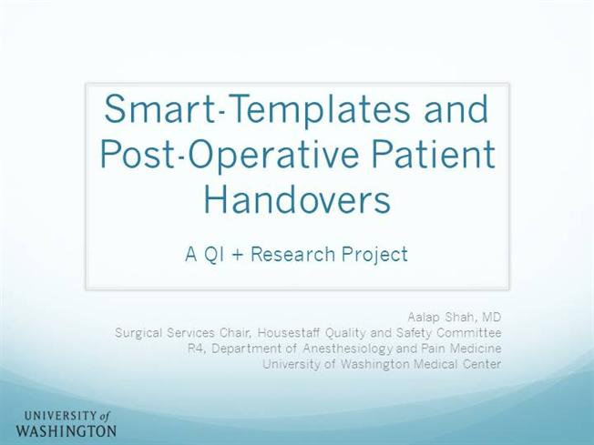 Informatics Tools And Patient Handovers - Aalap Shah |Authorstream