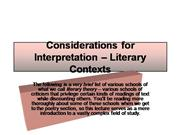 Considerations for Interpretation – Lite