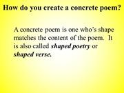 Concrete Poem Training