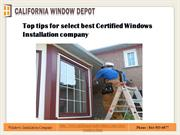 Top tips for select best Certified Windows Installation company