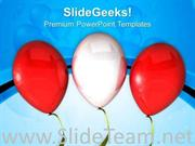 RED AND WHITE BALLOON FOR CELEBRATION POWERPOINT TEMPLATE