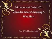 10 Important Factors To Consider Before Choosing A Web Host