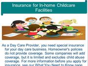Insurance for In-home Childcare Facilities