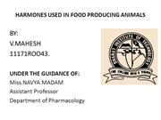 HARMONES USED IN FOOD PRODUCING ANIMALS