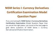 NISM Currency Derivatives Model Question Paper