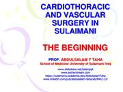 CARDIOTHORACIC AND VASCULAR SURGERY IN SULAIMANI THE BEGINING