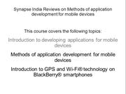 Synapse India Reviews on Methods of application development for mobile