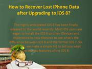 How to Recover Lost iPhone Data after Upgrading