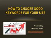 How to choose good keywords for your site