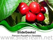 RED CHERRY WITH GREEN ABSTRACT BACKGROUND POWERPOINT TEMPLATE