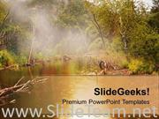 WATER AND FOREST IN BACKGROUND POWERPOINT TEMPLATE