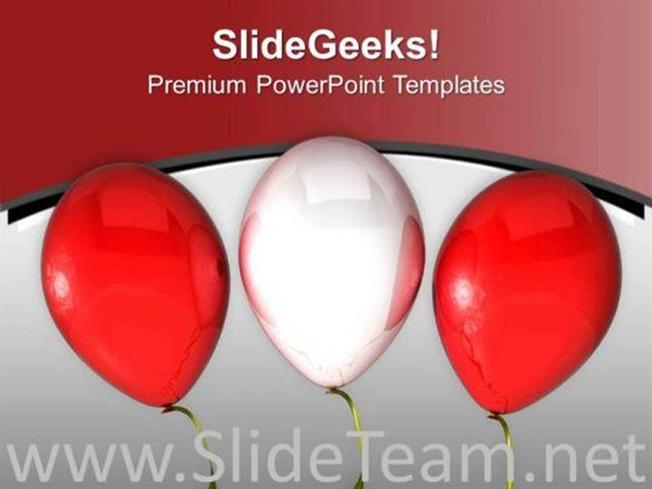 Red And White Balloons For Theme Party Powerpoint Template