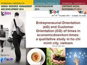 Entrepreneurial Orientation (eO) and Customer Orientation (CO) of time