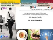 CSR Practices in Global Apparel Value Chain Implications for Sri Lanka