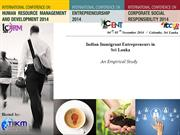 Indian Immigrant Entrepreneurs in Sri Lanka
