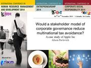 Would a stakeholder model of corporate governance reduce multinational