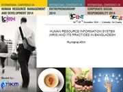 HUMAN RESOURCE INFORMATION SYSTEM (HRIS) AND ITS PRACTICES IN BANGLADE
