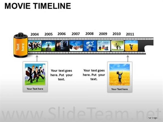 Linear Movie Style Timeline DiagramPowerpoint Diagram