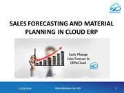 Sales Forecasting and Material Planning in Cloud ERP