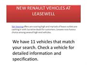 NEW RENAULT VEHICLES AT LEASEWELL