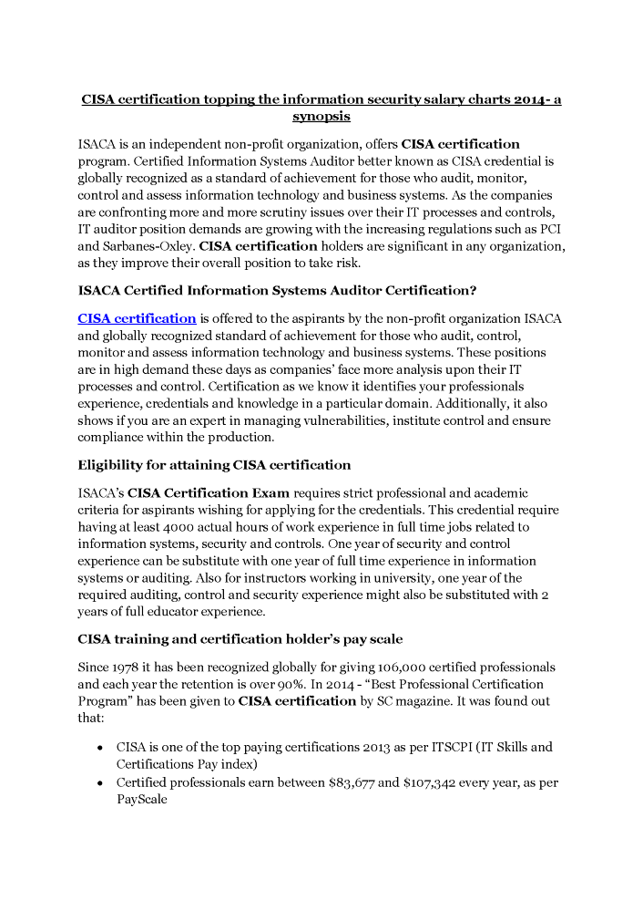 Cisa Certification Topping The Information Security Salary Charts