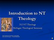 New Testament Theology Lecture 1 Part 1