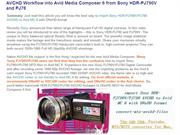 AVCHD Workflow into Avid Media Composer 6 from Sony HDR-PJ790V and PJ7