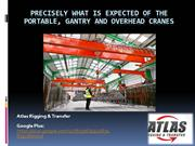 Different types of cranes including Overhead, Gantry and portable