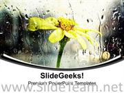 RAIN WITH FLOWER BACKGROUND POWERPOINT TEMPLATE