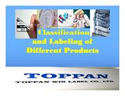 Classification and Labeling of Different Products