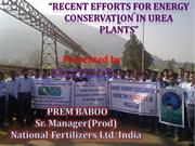 Recent efforts for energy Conservation in urea plant