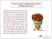 What are some romantic ideas for first wedding anniversary