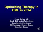 Jorge Cortes - Optimising CML Therapy - COLT Session 2