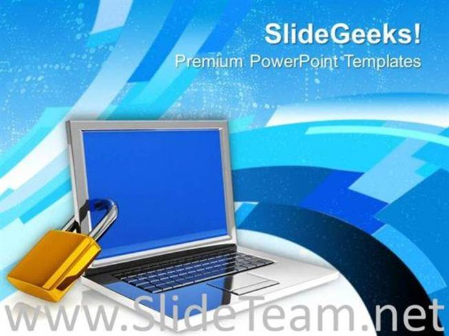 Locked Laptop Computer Security Concept Powerpoint Template