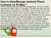 How to View or Manage Android Phone Contacts on computer