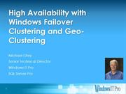 High Availability with Windows Server Clustering and Geo-Clustering