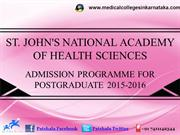 St. John's PG Medical Entrance Exam 2015|St. John's Medical College