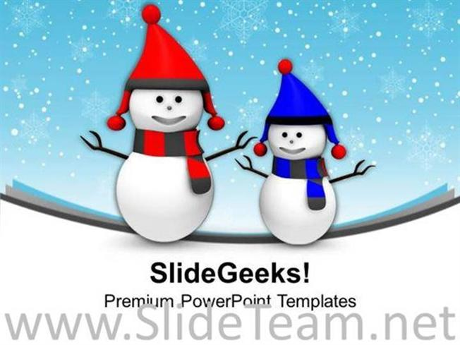 Happy Snowmen Winter Holidays Powerpoint Template Powerpoint Template