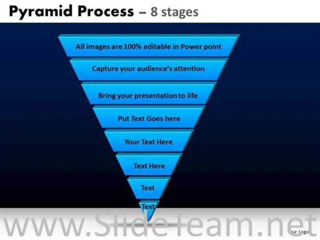 downward pyramid with 7 stages powerpoint diagram