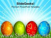 ROW OF COLORFUL EASTER EGGS FESTIVAL POWERPOINT TEMPLATE